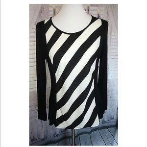 Allison Taylor Black White Striped Blouse Small